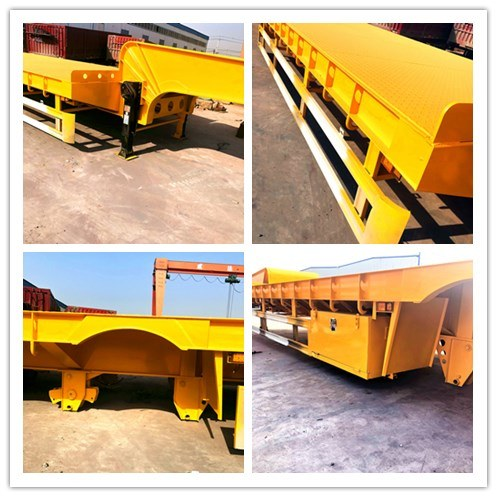 3/4 Axles 45-60 Tons Flatbed Low-Bed Cargo Lowbed Duty Transport Heavy Equipment Truck Semi Trailer