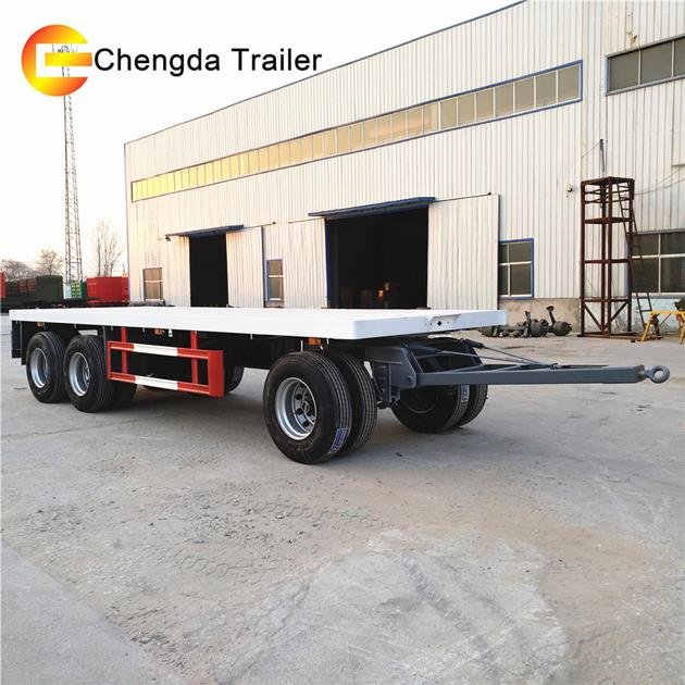 Light Weight 3 Axle Turntable 30 Ton Flatbed Side Wall Drawbar Dolly Full Trailer