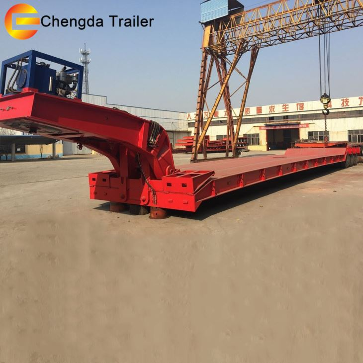 Heavy Duty Capcaity Removable 3 Axle 50ton Lowboy Low Bed Trailer Dimensions