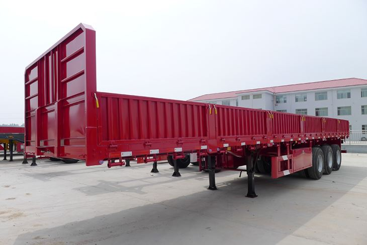 3 Axles 12 Wheeler 60tons and 80tons High Bed Cargo Semi Trailer