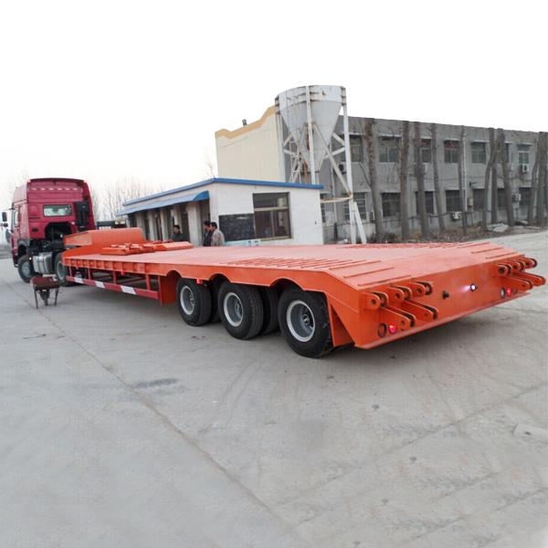 100 Tons Heavy Duty Gooseneck 3 Line 6 Axles Low Bed Lowboy Trailer Truck