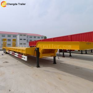 Cheap Tri Axle 50 Ton Detachable Lowboy Gooseneck Low Bed Semi Trailer
