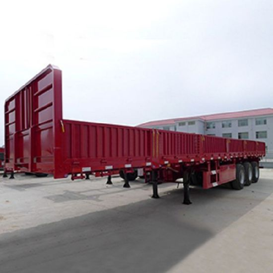 Tri-axles 60tons Side Curtain Wall High Bed Cargo Semi Trailer