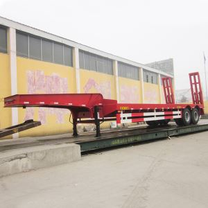 2 Axles Heavy Duty 40tons Gooseneck Low Bed Semi Trailer for Sale