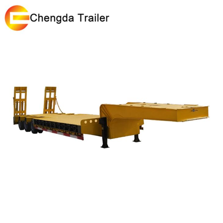 3 Axles 60 Tons Lowboy Low Bed Semi Trailer