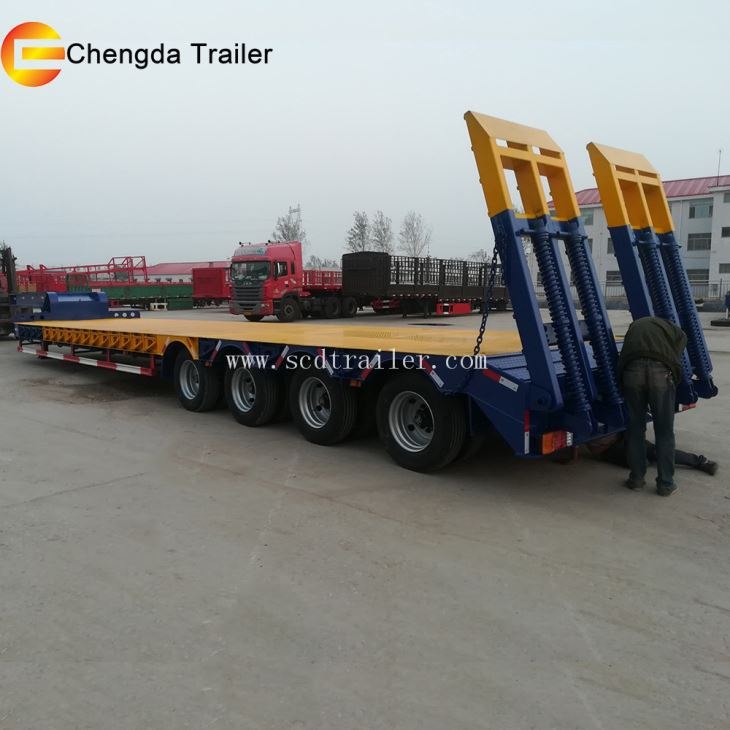 3 Axles 60T Lowbed Low Bed Truck Semi Trailer