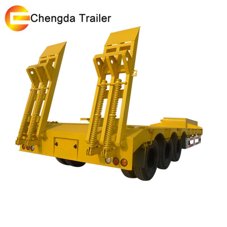 China Factory 3 Axles 60tons Stock Gooseneck Lowboy Low Loader Lowbed Truck Trailer
