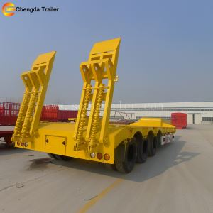 3 Axles 60ton Gooseneck Lowbed 50ton Lowboy Semi Trailer For Sale