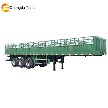 Chengda Factory 3 Axles Fence Dropside Cargo Semi Trailer For Truck