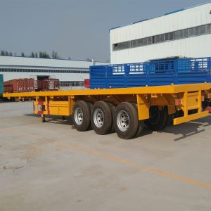 China Manufacture 40ft Tri Axle Flatbed Container Chassis Semi Trailer