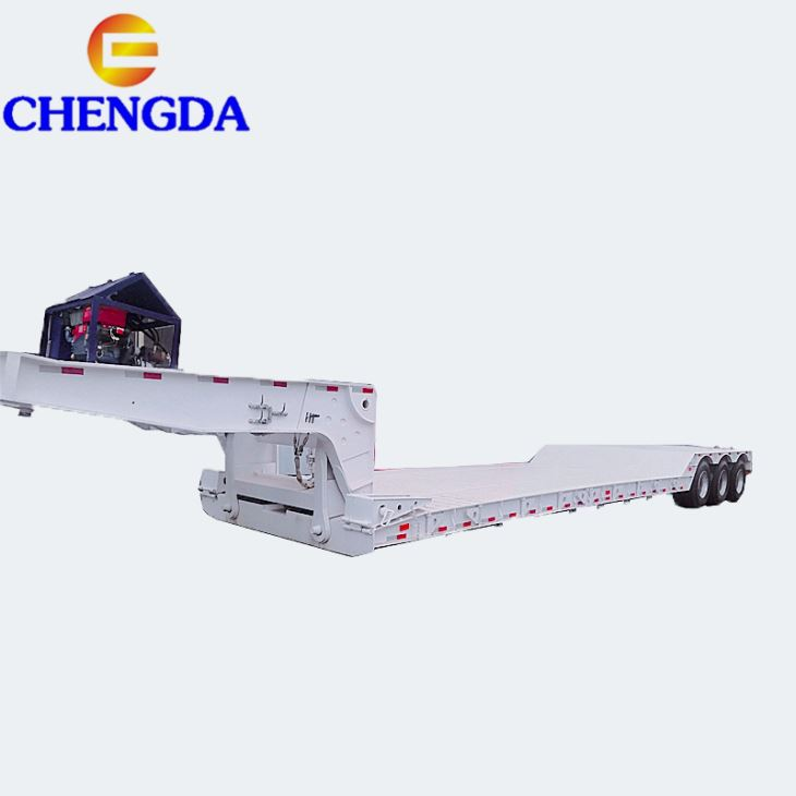 3/4Axles 45-60Tons Cargo Lowbed Duty Truck Semi Trailer