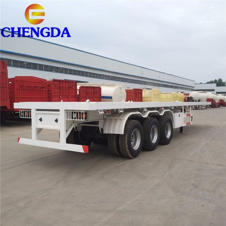 3 Axle 40ft Container Flatbed Semi Trailers For Sale