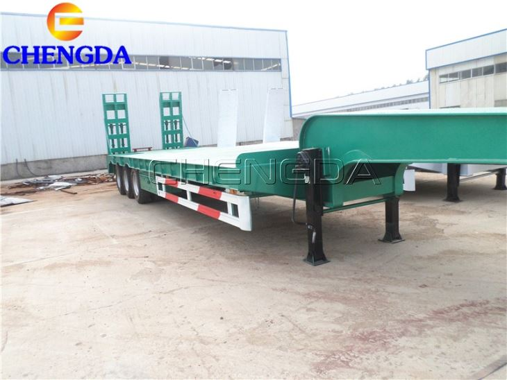 3 Axles 4 Axles 50 60 80 Ton Low Bed Truck Trailer For Excavator Transportation