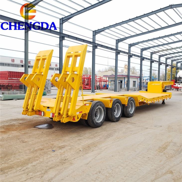 3 Axles 60 80 Ton Lowbed Low Bed Lowboy Truck Trailer In Mozambique