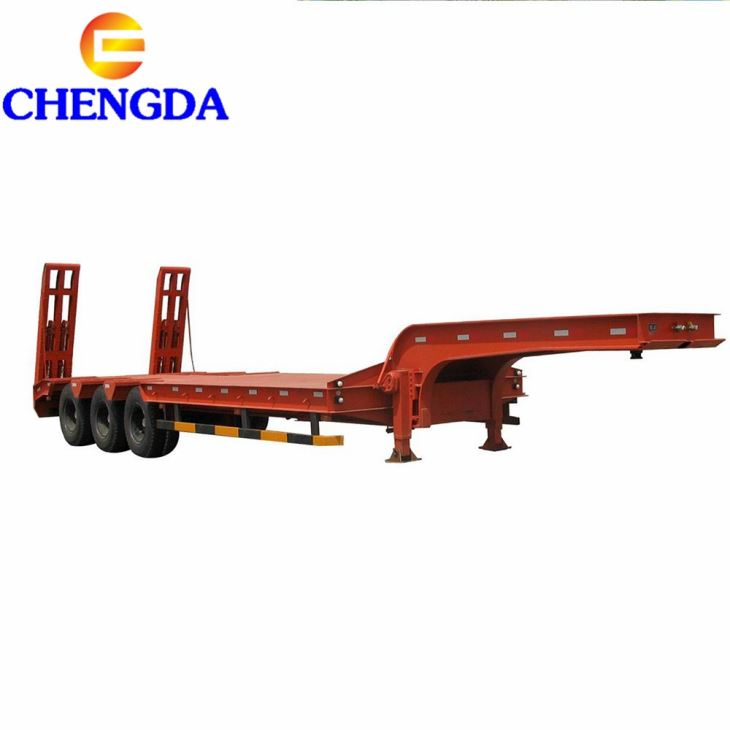 50t Tri Axles Lowbed Trailer For Crane