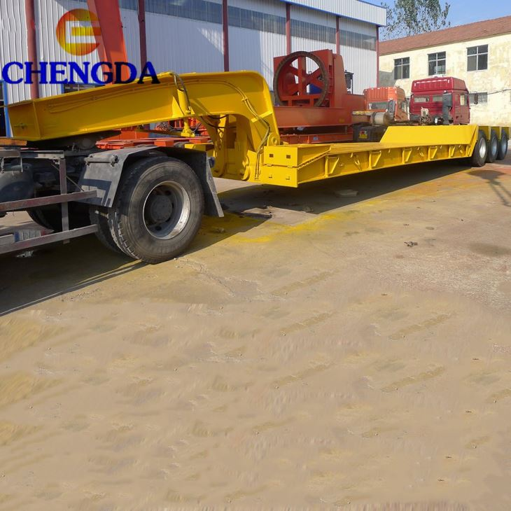 80 100 Ton Goose Nect Detachable Front Load Low Bed Lowboy Trailer For Sale