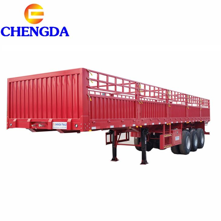 Customized 3 Axles Box Semi Trailer With Side Open Door