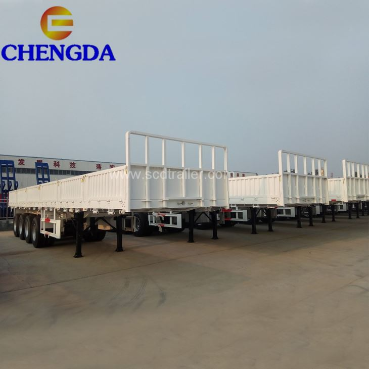 Four 4 Axles 80tons High Dropside Side Wall Container Cargo Semi Trailer