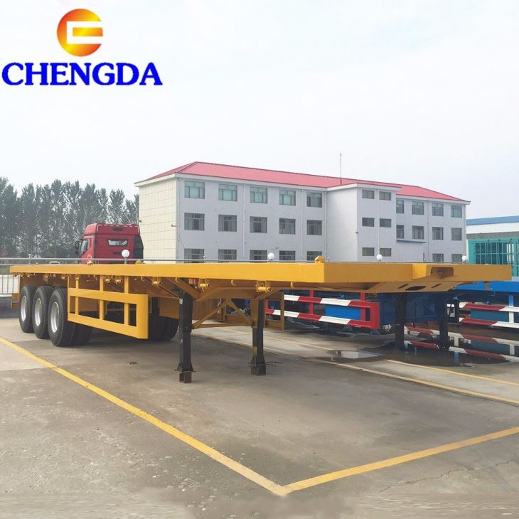 Hot Sale Tri-axle 3 Axle 40ft Flat Bed Trailer Dimensions
