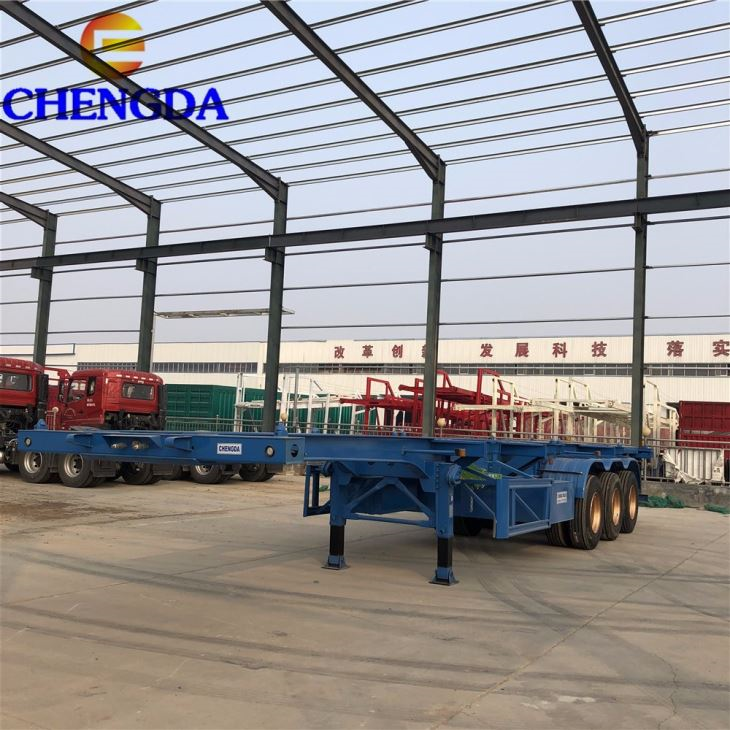 Low Price Truck Chassis Frame Manufacturers 2 3 Axles 20ft 40ft Shipping Container Transport Skeleton Container Chassis Semi Truck Trailer