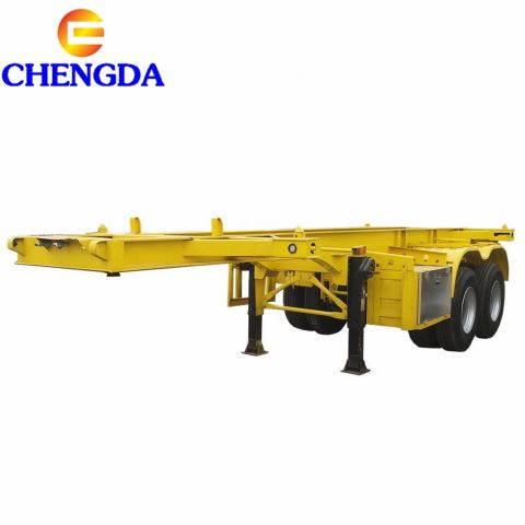 2 Axles Flatbed Container Skeleton Semi Trailer Chassis For Sale