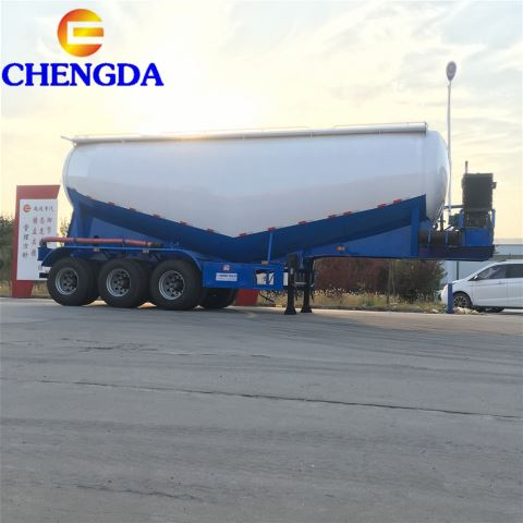 3 Axle Bulk Cement Semi Trailer Truck With V Shape Tank