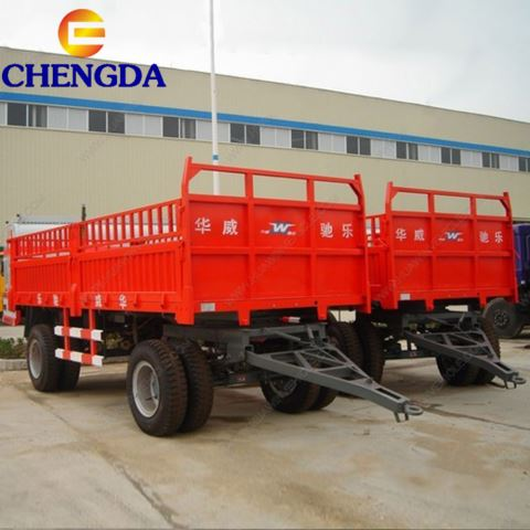 3 Axle Fence Semi Trailer Cargo Fence Full Trailer Drawbar Trailer With Side Panel