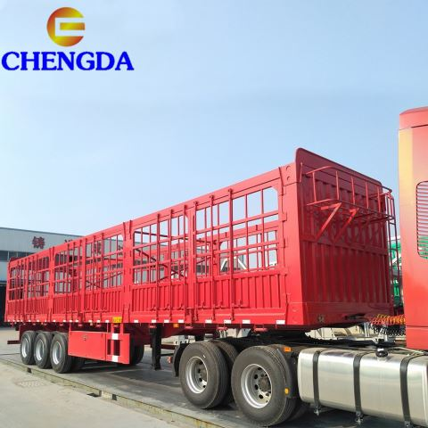3 BPW Axles Fence Dropside Cargo Semi Trailer for Truck
