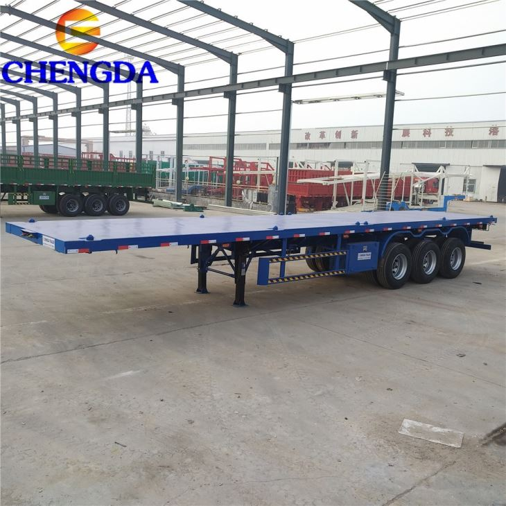 Hot Sale Low Price 3 Axles 4 Axles 20ft 40 Ft Flatbed Trailer