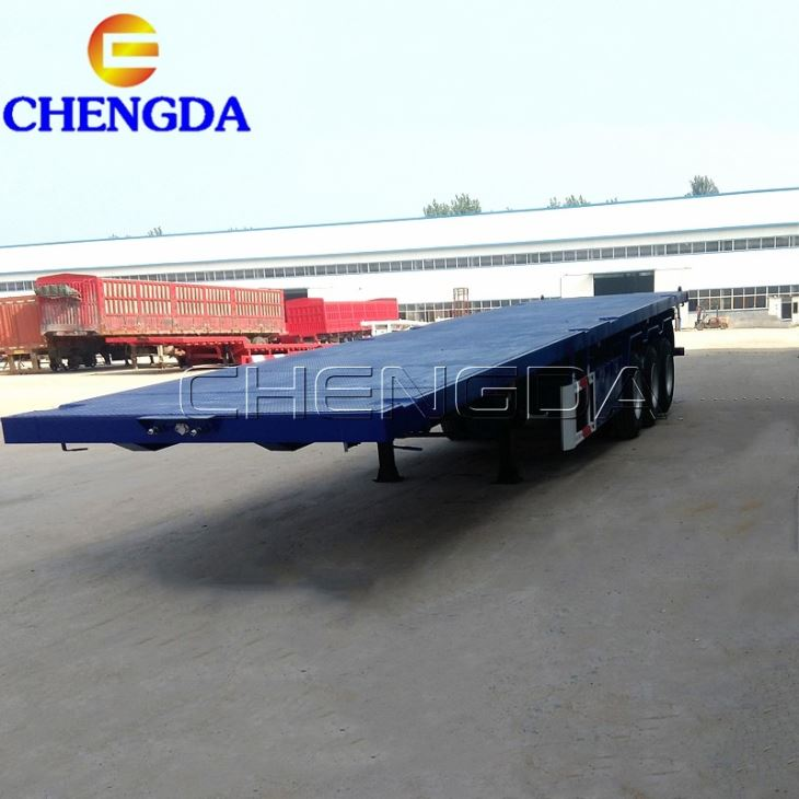 The Used 3 Axles 50tons Flatbed Semi Trailer Container Trailer
